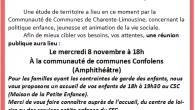 Chers parents, assistantes maternelles, bénévoles, adhérents, usagers du centre, Une étude de territoire a lieu en ce moment par la Communauté de Communes de Charente-Limousine, concernant la politique enfance, jeunesse […]